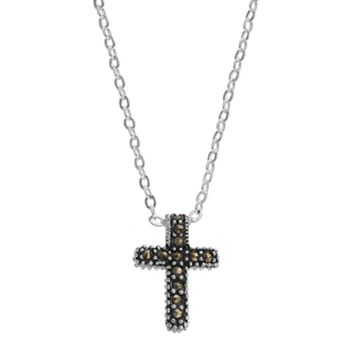 Silver Luxuries Marcasite & Crystal Cross Pendant Necklace