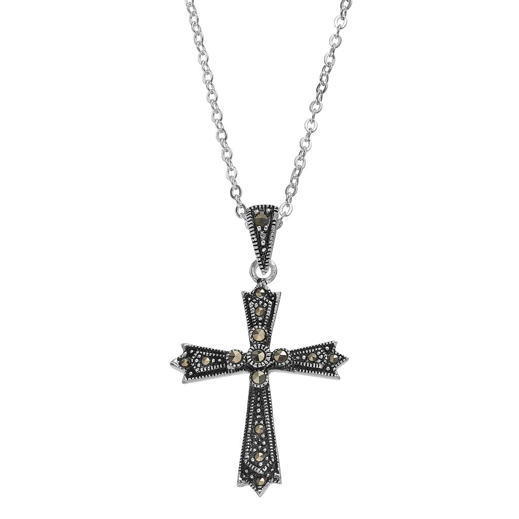 Silver LuxuriesMarcasite Cross Pendant Necklace