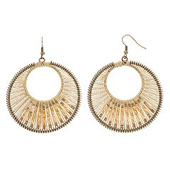GS by gemma simone Seed Bead Drop Hoop Earrings