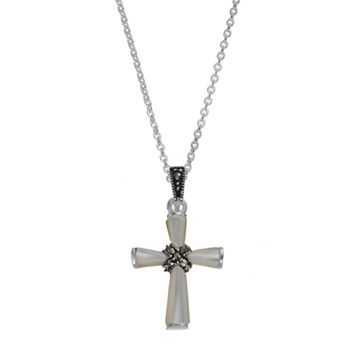 Silver Luxuries Mother-of-Pearl & Marcasite Cross Pendant