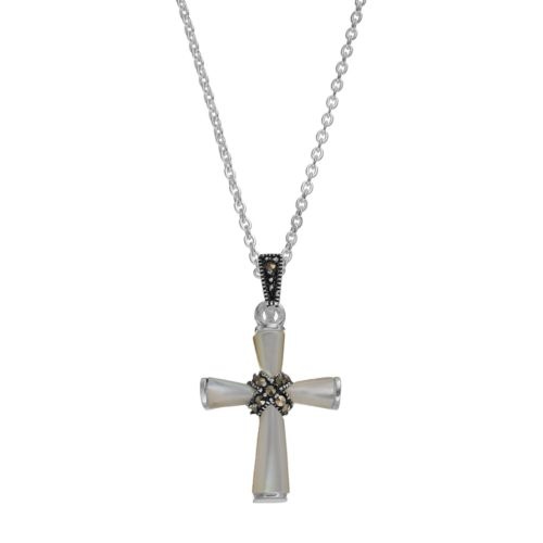 Silver LuxuriesMother-of-Pearl & Marcasite Cross Pendant