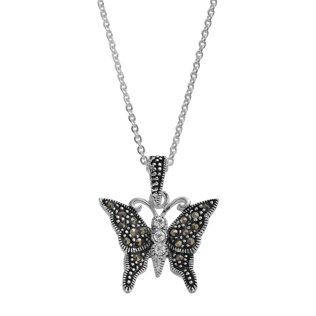 Silver LuxuriesMarcasite & Crystal Butterfly Pendant Necklace