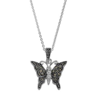 Silver Luxuries Marcasite & Crystal Butterfly Pendant Necklace