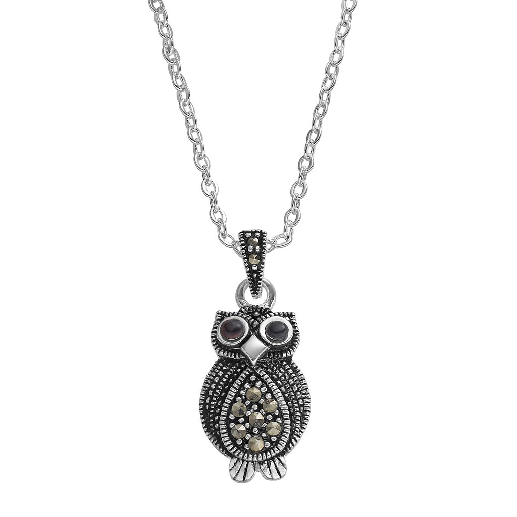 Silver LuxuriesMarcasite & Crystal Owl Pendant Necklace