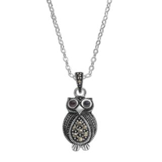 Silver Luxuries Marcasite & Crystal Owl Pendant Necklace