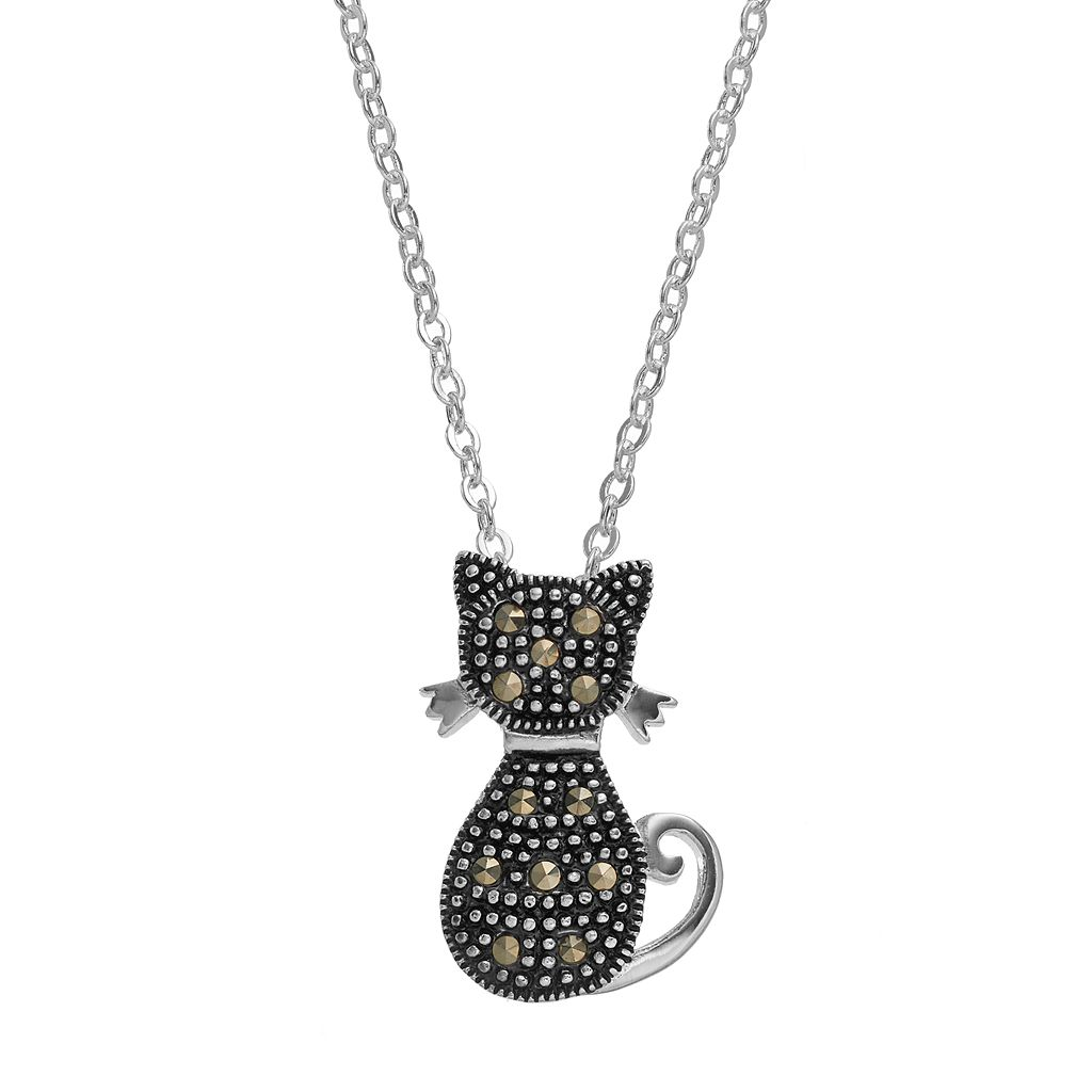 Silver Luxuries Marcasite Cat Pendant Necklace