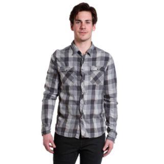 Men's Excelled Slim-Fit Plaid Button-Down Shirt