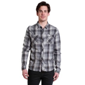 Men's Excelled Slim-Fit Plaid Button-Down Shirt