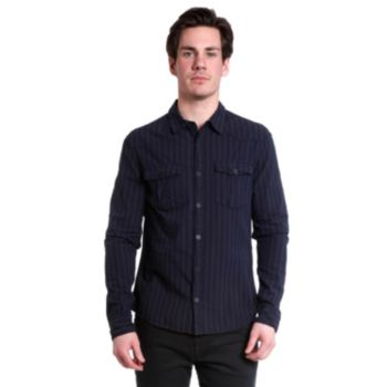 Men's Excelled Slim-Fit Dobby-Striped Snap-Front Shirt