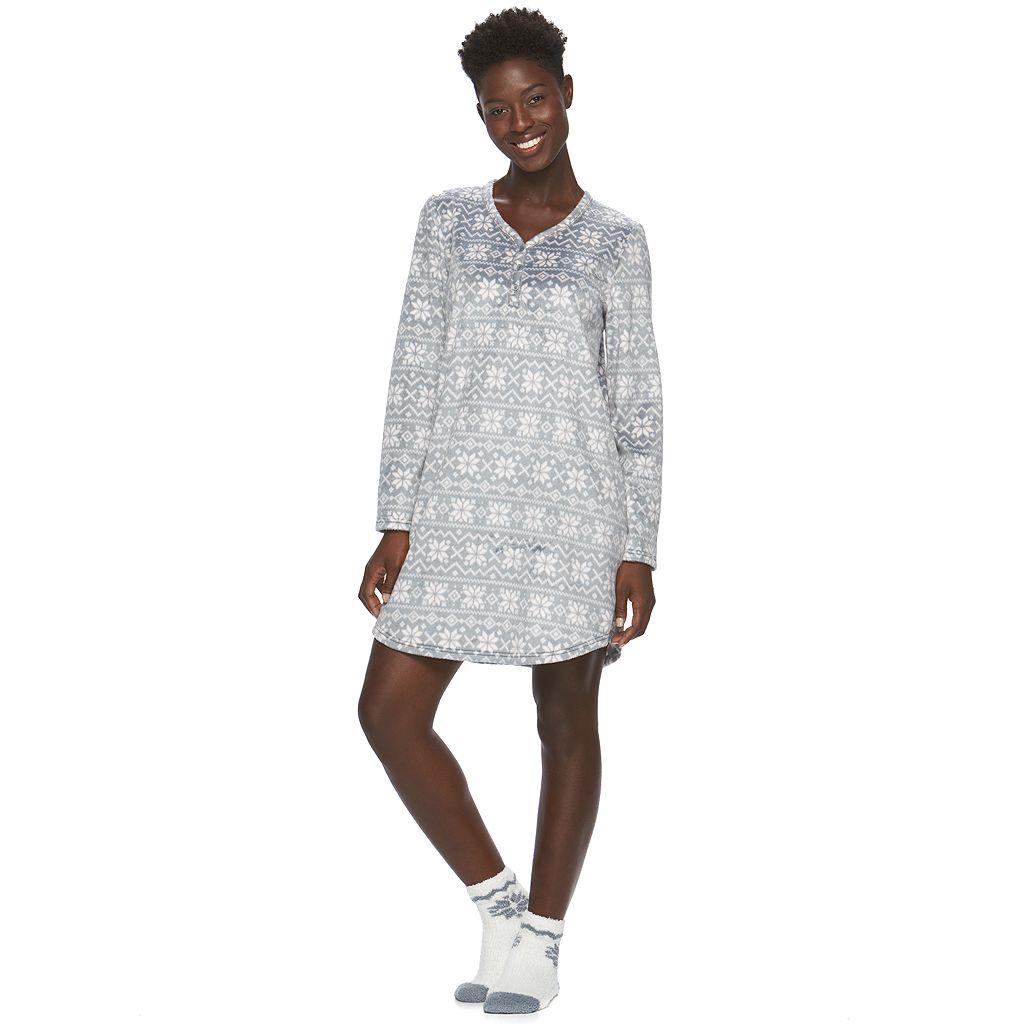 Women's Croft & Barrow® Pajamas: Soft & Cozy Sleep Shirt with Socks