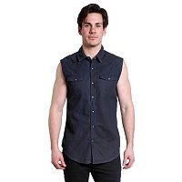 Men's Excelled Slim-Fit Sleeveless Denim Biker Snap-Front Shirt