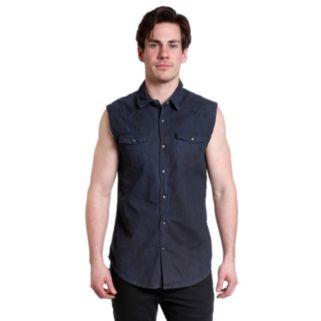Men's Excelled Slim-Fit Sleeveless Denim Biker Snap-Front Shirt