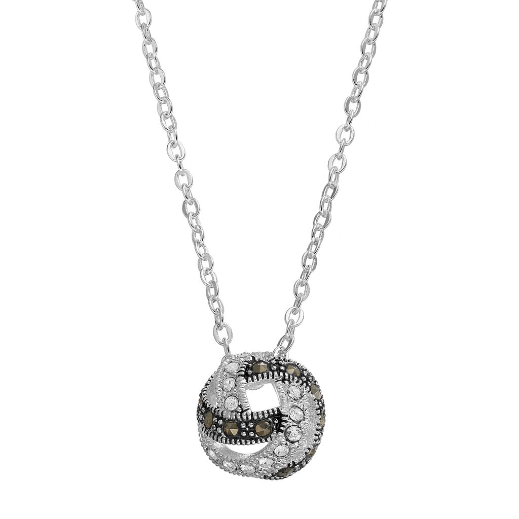 Silver Luxuries Marcasite & Crystal Knot Pendant Necklace