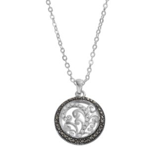 Silver Luxuries Marcasite & Crystal Filigree Circle Pendant