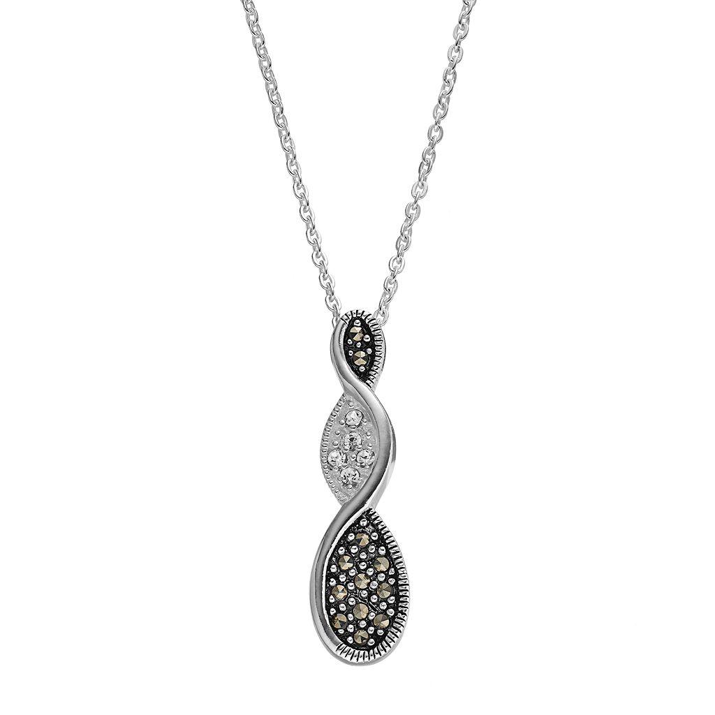 Silver Luxuries Marcasite & Crystal Twist Teardrop Pendant