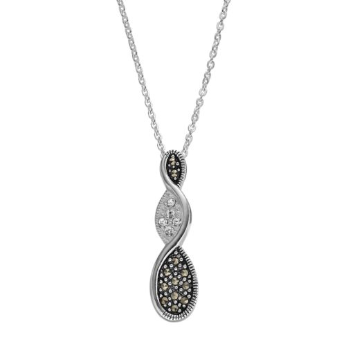 Silver Luxuries Marcasite & Crystal Twist Teardrop Pendant