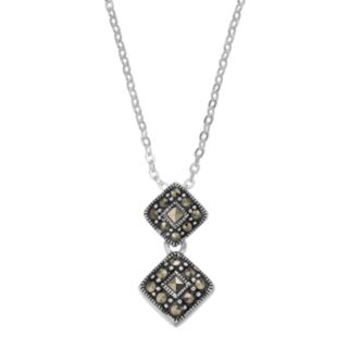 Silver LuxuriesMarcasite Double Kite Pendant Necklace