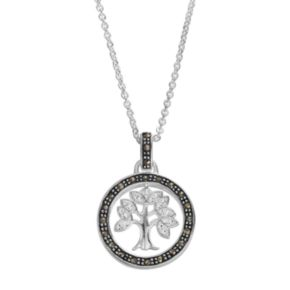 Silver Luxuries Marcasite & Crystal Tree Circle Pendant