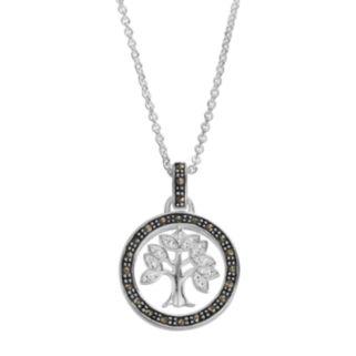 Silver LuxuriesMarcasite & Crystal Tree Circle Pendant