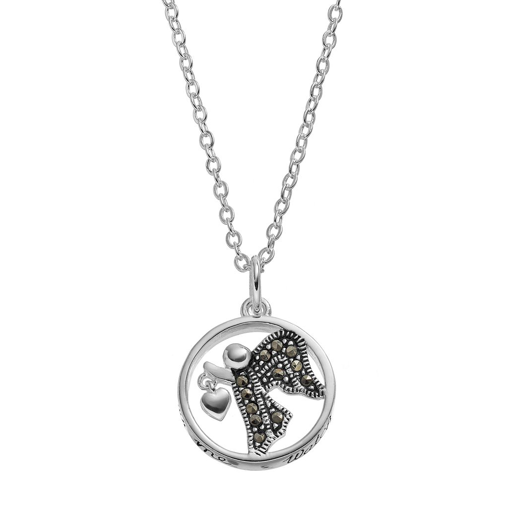 Silver LuxuriesMarcasite Angel Circle Pendant Necklace