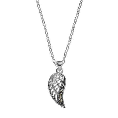 Silver Luxuries Marcasite Wing Pendant Necklace