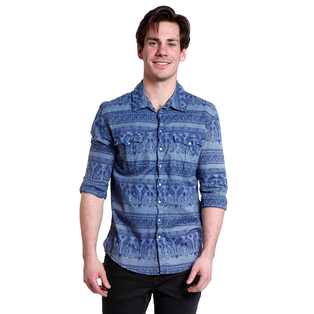 Men's Excelled Slim-Fit Paisley Snap-Front Shirt
