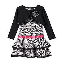 Toddler Girl Nannette Shrug & Zebra Print Dress Set