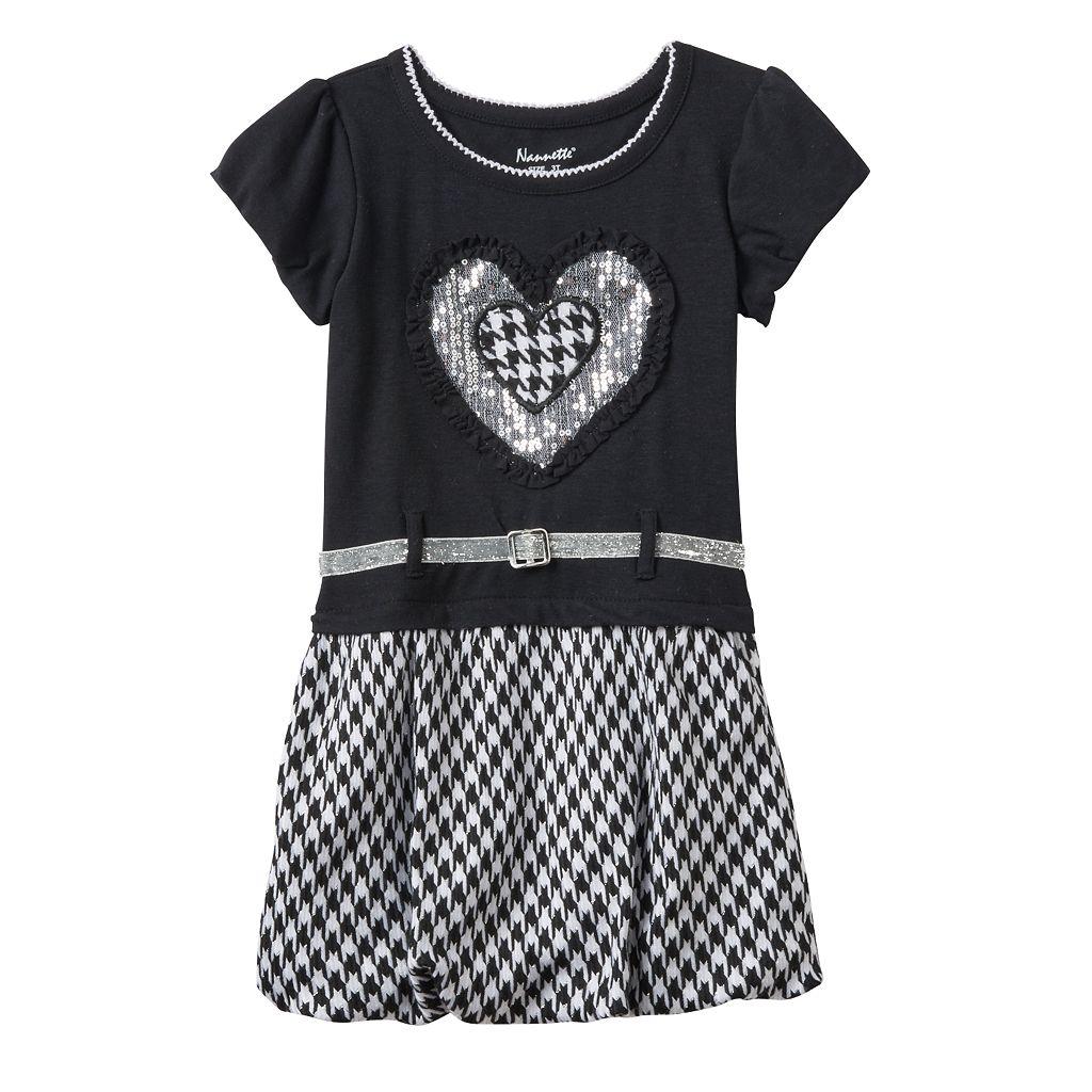 Toddler Girl Nannette Sequin Heart & Houndstooth Knit Dress
