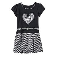 Toddler Girl Nannette Sequin Heart & Houndstooth Knit Dress