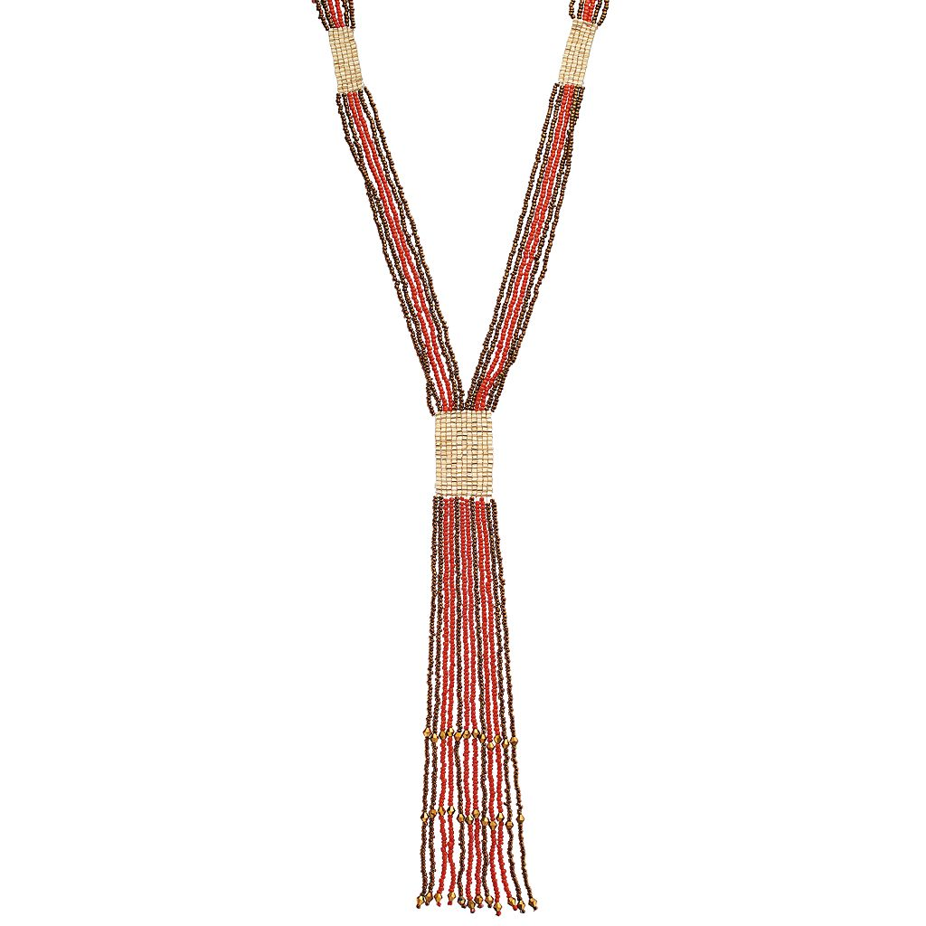GS by gemma simone Seed Bead Fringe Y Necklace
