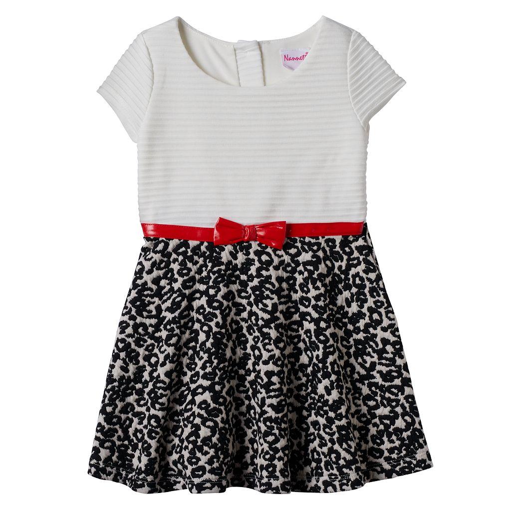Toddler Girl Nannette Textured Stripe & Animal Print Dress