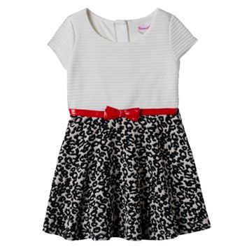 Toddler Girl Nannette Textured Stripe & Animal Print Dress