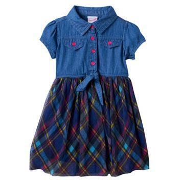 Toddler Girl Nannette Chambray Top Plaid Skirt Dress
