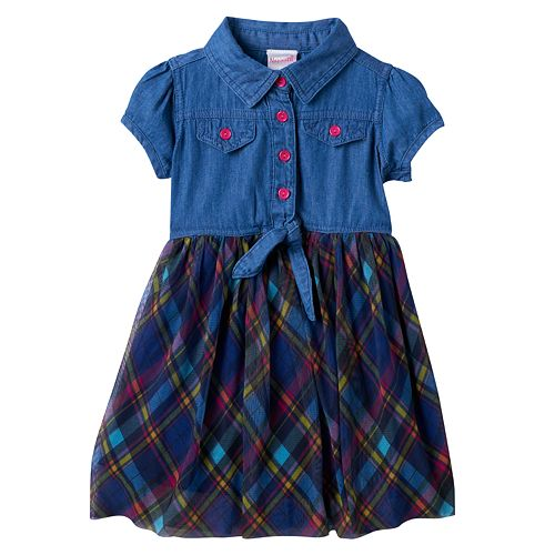 Toddler Girl Nannette Chambray Top Plaid Skirt Dress