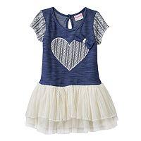 Toddler Girl Nannette Lace Heart Stretchy Knit Dress