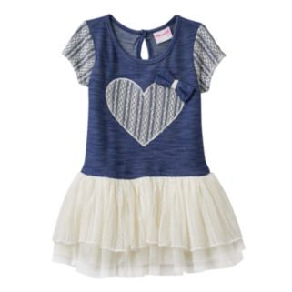 Toddler Girl Nannette Lace Heart Stretchy Knit Dress