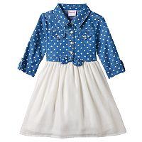 Toddler Girl Nannette Heart Print Chambray Top Dress