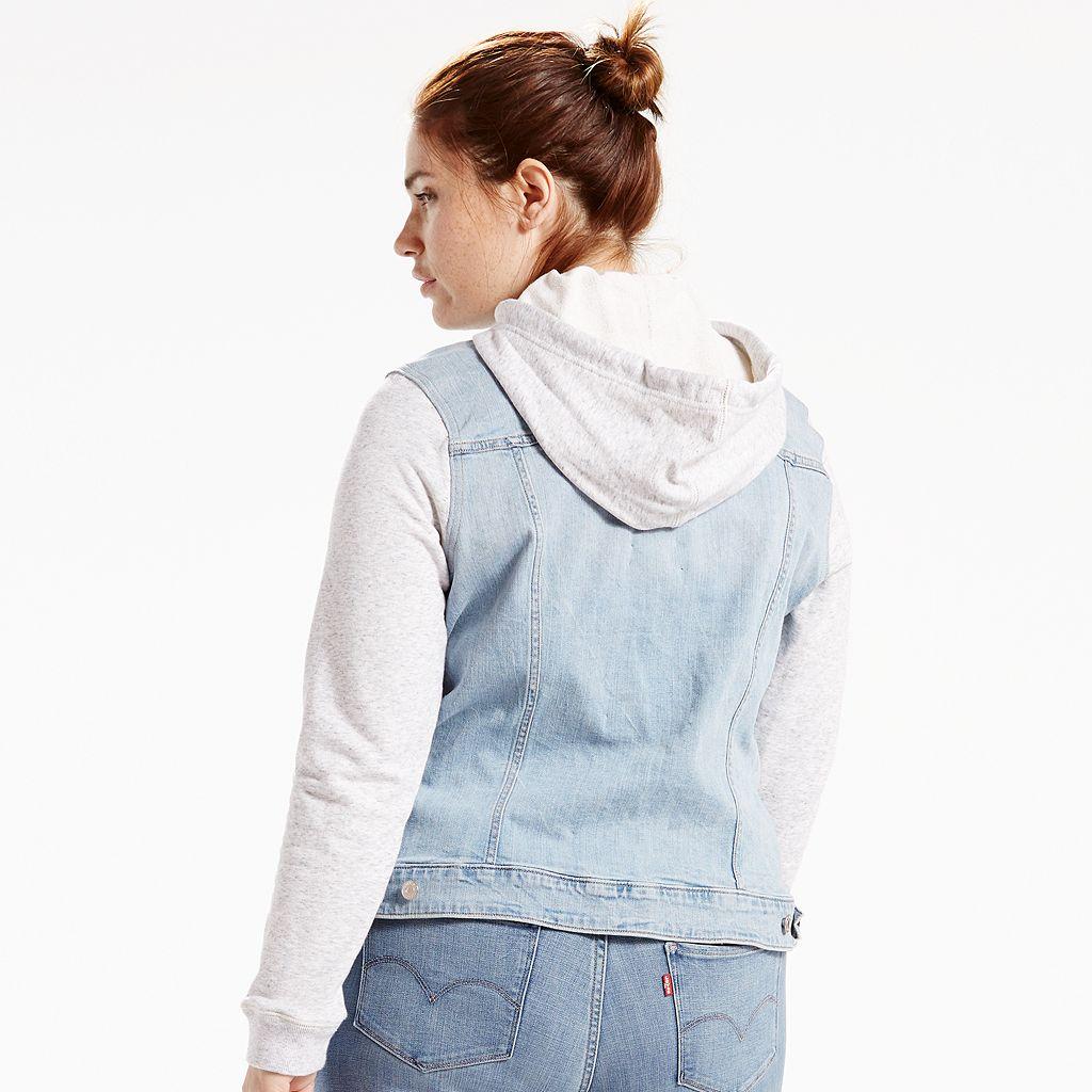 Plus Size Levi's Hooded Knit & Denim Trucker Jacket