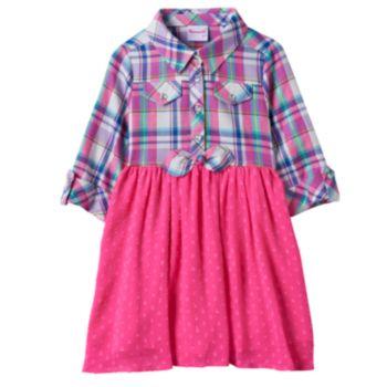 Toddler Girl Nannette Plaid Top Textured Dot Skirt Dress