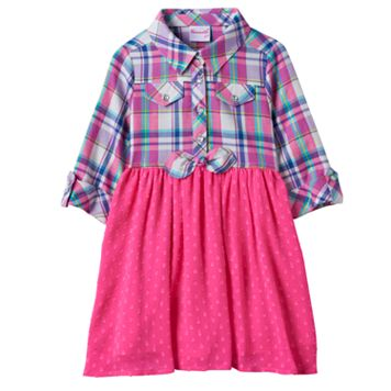 Toddler Girl Nannette Plaid Top Textured Dot Skirt Dress