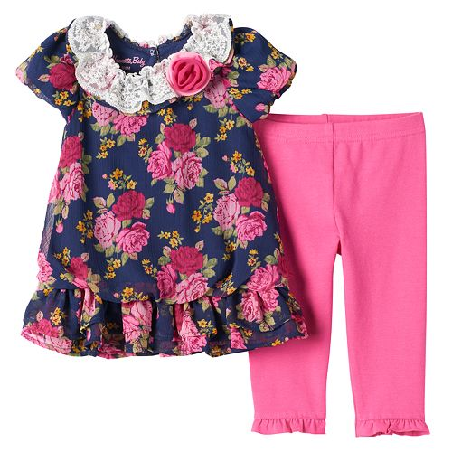 Nannette Girls 2 Piece Flower Legging Set with Chiffon and Lace