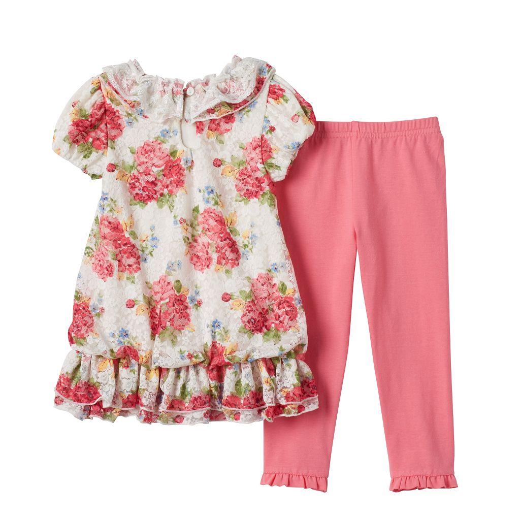 Toddler Girl Nannette Floral Lace Tunic & Leggings Set