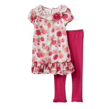 Toddler Girl Nannette Rose Dress & Ruffle Leggings Set