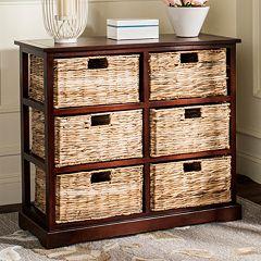 Safavieh Keenan Wicker Basket Storage Cabinet