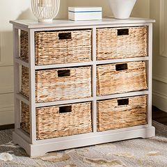 Safavieh Keenan Wicker Basket Storage Cabinet