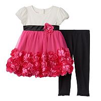 Toddler Girl Nannette Rosette Tulle Dress & Leggings Set