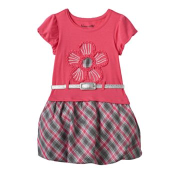 Girls 4-6x Nannette Plaid Flower Bubble Dress with Glitter Belt