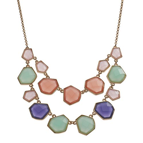 Multi Color Geometric Swag Statement Necklace