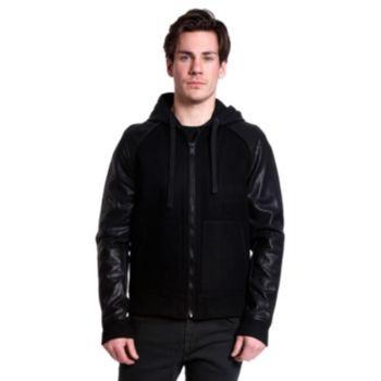 Men's Excelled Slim-Fit Wool-Blend Hooded Varsity Jacket