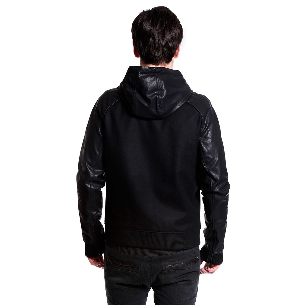 Men's Excelled Slim-Fit Wool-Blend Hooded Varsity Jacket